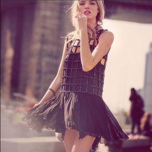 NWT Free People Black Shell Drop Waist Dress S